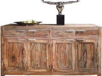 WHITE LABEL - buffet wood en bois massif 4 portes et 4 tiroirs - Buffet Bas