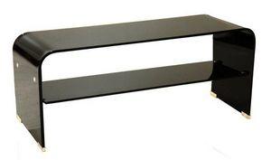 WHITE LABEL - meuble tv télé verre noir - Meuble Tv Hi Fi