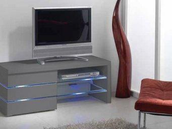WHITE LABEL - meuble tv leon, gris mat et lumière led - Meuble Tv Hi Fi
