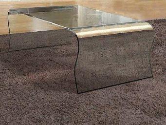 WHITE LABEL - louise table basse en verre courbé - Table Basse Rectangulaire