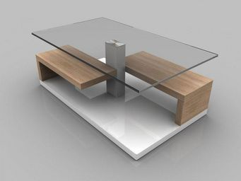 WHITE LABEL - table basse maeva chêne blanc de sonoma avec range - Table Basse Rectangulaire