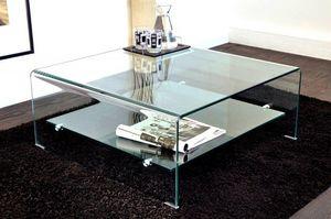 WHITE LABEL - wave table basse carrée en verre double plateau 80 - Table Basse Carrée