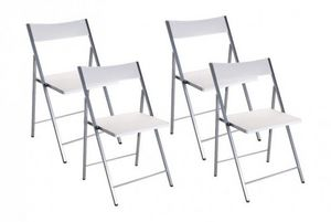 WHITE LABEL - belfort lot de 4 chaises pliantes blanc - Chaise Pliante