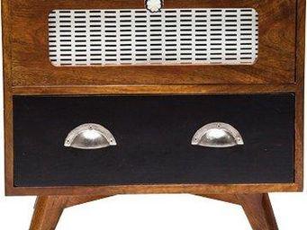 WHITE LABEL - chevet style radio retro en bois - Table De Chevet