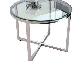 WHITE LABEL - talulah table basse ronde en verre et piétement ac - Table Basse Ronde