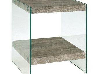 WHITE LABEL - table basse nina en verre et chêne gris - Table Basse Carrée