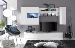 WHITE LABEL - composition murale tv design primera blanc brillan - Meuble Tv Hi Fi
