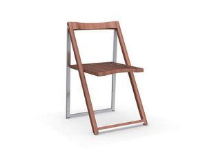Calligaris - chaise pliante skip noyer et aluminium satiné de c - Chaise Pliante