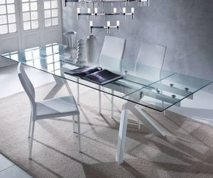 WHITE LABEL - table repas extensible en verre tokyo, piétement e - Table De Repas Rectangulaire
