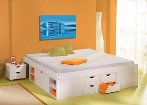WHITE LABEL - lit multi rangement till en pin massif blanc couch - Lit Double À Tiroirs