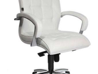 WHITE LABEL - fauteuil de bureau réglable triumph en cuir blanc. - Fauteuil De Bureau