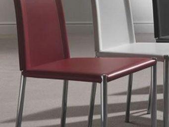 WHITE LABEL - chaise laser en simili cuir rouge et acier chromé - Chaise