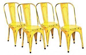 WHITE LABEL - lot de 4 chaises design aix gelb en acier jaune - Chaise