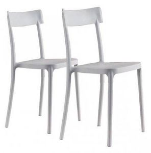 WHITE LABEL - lot de 2 chaises corsocomo empilables blanches - Chaise