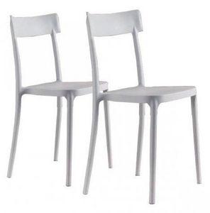 WHITE LABEL - lot de 2 chaises corsocomo empilables blanches - Chaise