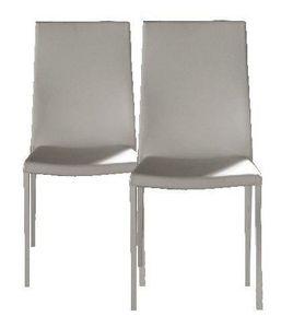 WHITE LABEL - lot de 2 chaises design hellen blanches en simili  - Chaise