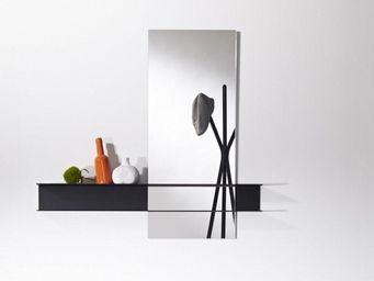 WHITE LABEL - poke miroir mural carré en verre avec pied design  - Miroir