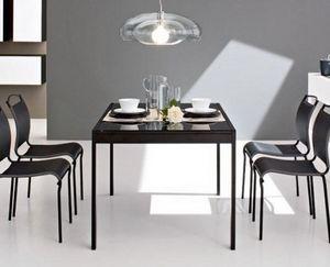 Calligaris - table repas extensible key 130x89 en verre noir de - Table De Repas Rectangulaire
