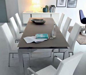 Calligaris - table repas extensible airport 130x90 en verre col - Table De Repas Rectangulaire