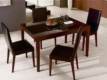 WHITE LABEL - fly bois wengue, plateau verre marron table repas  - Table De Repas Rectangulaire