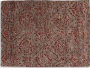 WHITE LABEL - basanti tapis laine rouge taupe - Tapis Contemporain
