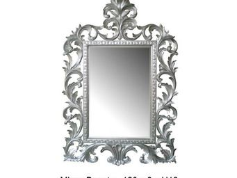 DECO PRIVE - miroir en bois argenté modèle beauty - Miroir