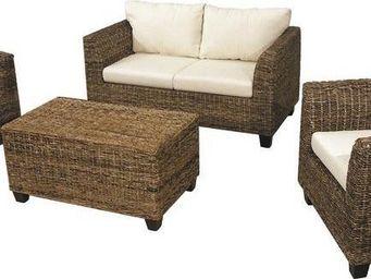 Aubry-Gaspard - salon acajou canap� et fauteuils - Salon De Jardin