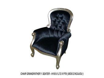 DECO PRIVE - fauteuil baroque noir et argenté modèle grandfathe - Fauteuil