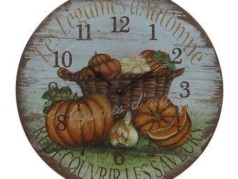 Interior's - horloge l�gumes d'automne - Horloge Murale