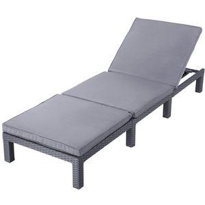 WHITE LABEL - transat bain de soleil chaise longue gris - Bain De Soleil
