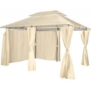 WHITE LABEL - pavillon métal 4x3 beige - Tonnelle