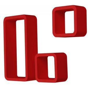 WHITE LABEL - étagère murale x3 cube rouge - Etagère