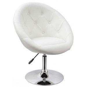 WHITE LABEL - fauteuil lounge pivotant cuir blanc - Fauteuil Rotatif