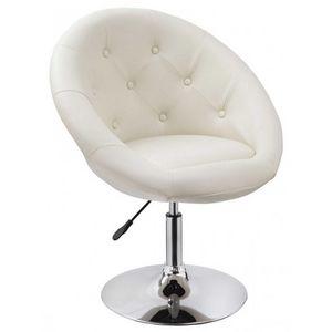 WHITE LABEL - fauteuil lounge pivotant cuir crème - Fauteuil Rotatif