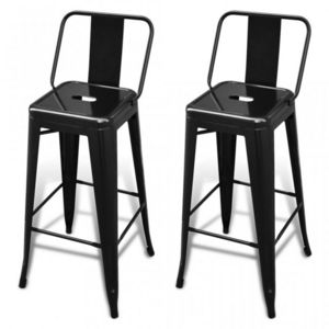 WHITE LABEL - lot de 2 tabourets de bar en acier noir - Chaise Haute De Bar