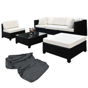 WHITE LABEL - salon de jardin rotin synthétique noir - Salon De Jardin