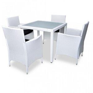WHITE LABEL - salon de jardin avec table + 4 chaises - Salle À Manger De Jardin