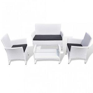 WHITE LABEL - salon complet de jardin rotin pe blanc - Salon De Jardin