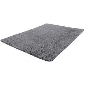 WHITE LABEL - tapis salon gris poil long taille s - Tapis Contemporain