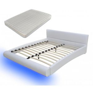 WHITE LABEL - lit led 180 x 200 cm blanc + matelas - Ensemble Literie