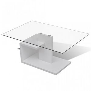 WHITE LABEL - table basse design blanche verre - Table Basse Rectangulaire