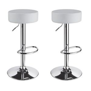 WHITE LABEL - lot de 2 tabourets de bar blanc - Tabouret De Bar