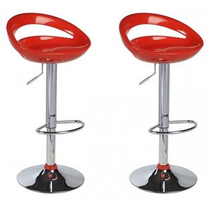 WHITE LABEL - lot de 2 tabourets de bar rouge - Chaise Haute De Bar