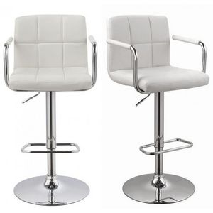 WHITE LABEL - lot de 2 tabourets de bar blanc - Chaise Haute De Bar