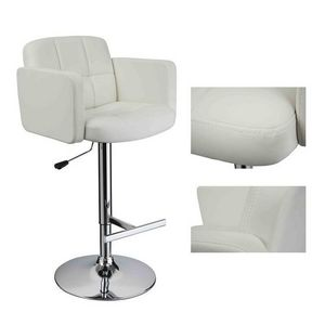 WHITE LABEL - 2 tabourets de bar ergonomique cuir pu - Chaise Haute De Bar