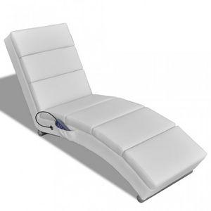 WHITE LABEL - fauteuil de massage chaise relaxation électrique blanc - Fauteuil De Massage