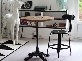 Ardamez - table de bistrot massif chêne / bois / email - Table Bistrot