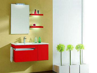UsiRama.com - meuble salle de bain blanc barcelone rouge 90cm - Meuble Vasque