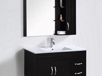 UsiRama.com - meuble salle de bain lélégant laqué noir 1m - Meuble De Salle De Bains