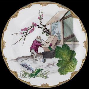 Au Bain Marie - assiette décorative en tôle souris calligraphe - Assiette Décorative